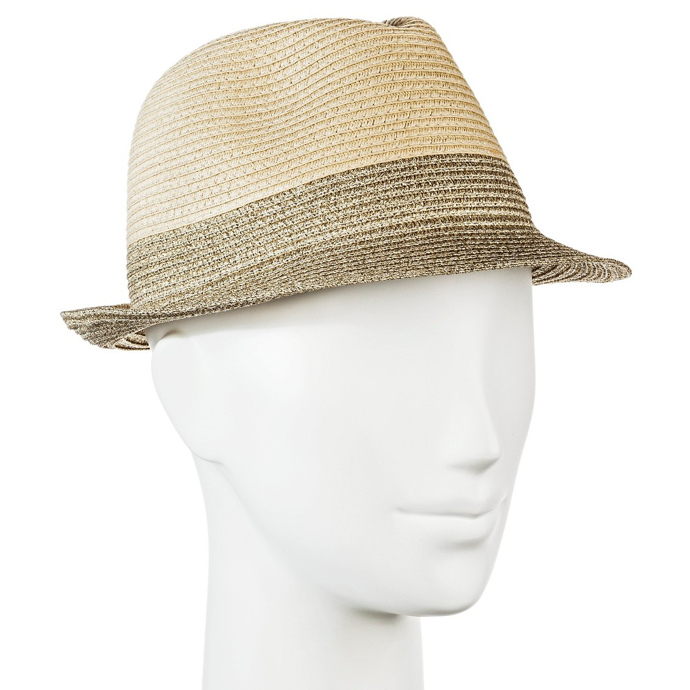 Womens Straw Hat Fedora Tan with Shine - Merona