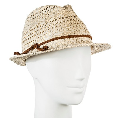 Women's Straw Hat Fedora Natural Tan Pattern Weave With Brown Braid   Merona™ by Merona™