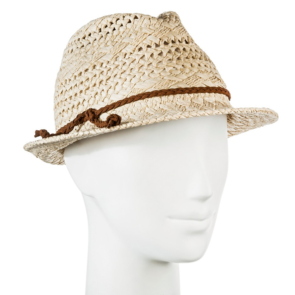 Womens Straw Hat Fedora Natural Tan Pattern Weave with Brown Braid - Merona