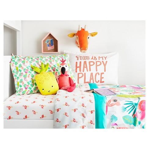 Flamingos Sheet Set Full 4 Pc White Pillowfort
