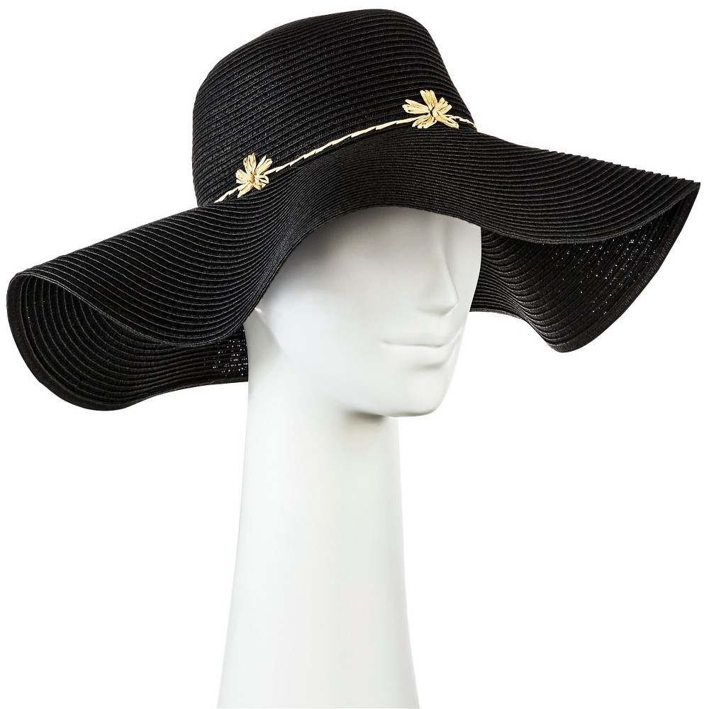 Womens Floppy Straw Hat Black with Embroidery Flower - Merona