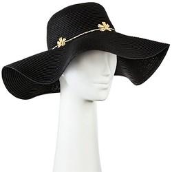 Women's Floppy Straw Hat Black with Embroidery Flower - Merona™