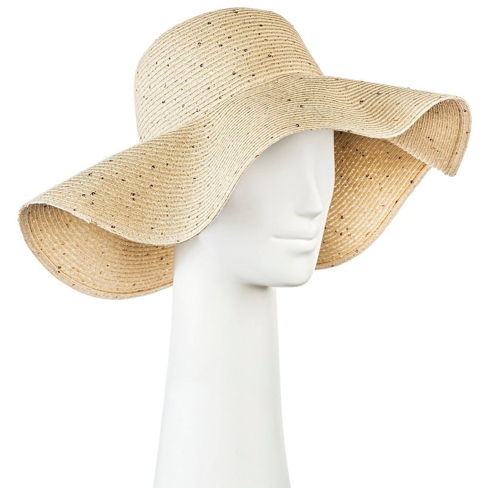 Womens Floppy Straw Hat Light Tan with Sequins - Merona, Natural