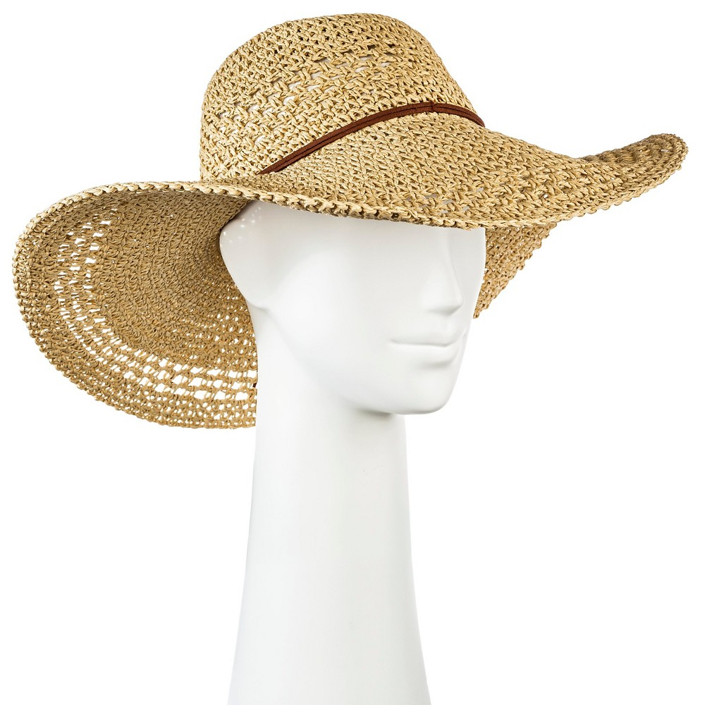 Womens Floppy Straw Hat Tan - Merona