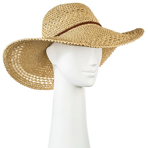 Women's Floppy Straw Hat Tan - Merona™ - image 1 of 2