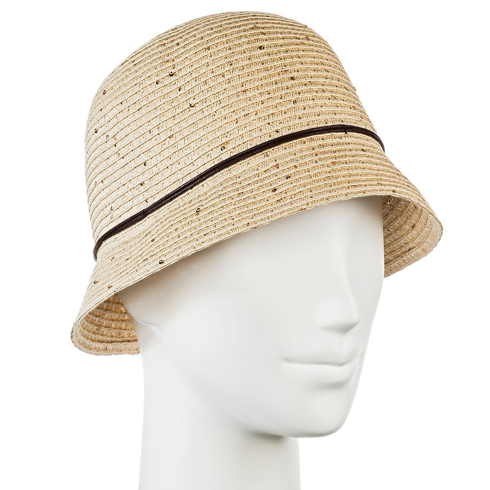 Womens Cloche Hat Natural with Sequins - Merona