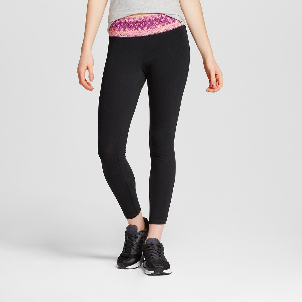 Women's Yoga Capri Leggings Flat Waistband Pairs Pink Print M - Mossimo Supply Co. (Juniors')