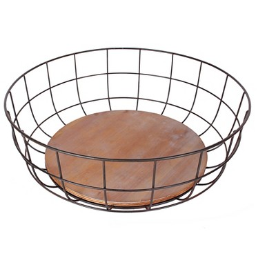 Industrial Iron and Wood Decorative Bowl - Medium