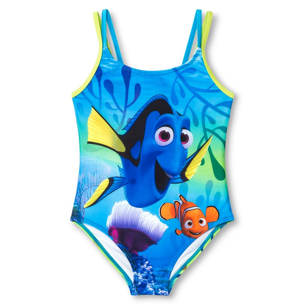 Disney Finding Nemo Dory Girls One Piece Swimsuit Blue 5