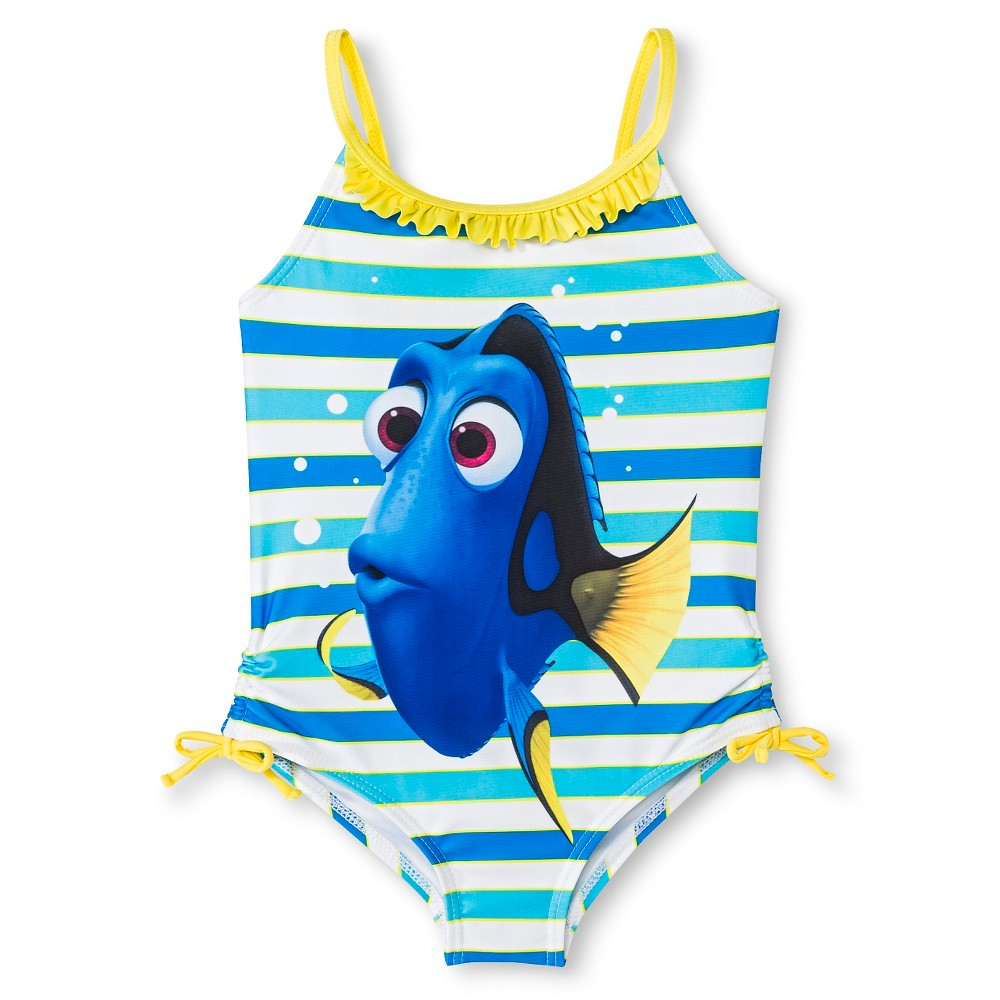Disney Finding Nemo Dory Girls One Piece Swimsuit Blue 6