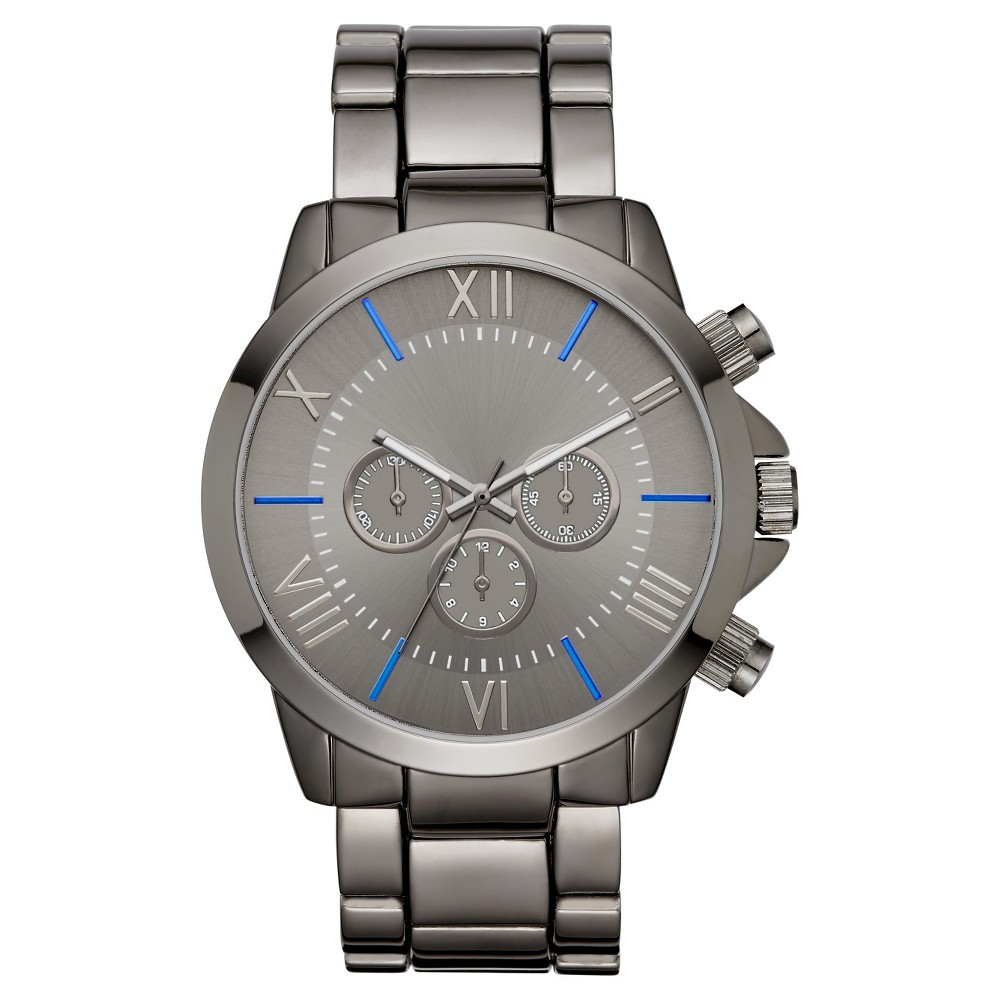 Mens Roman Numeral Dial with Blue Accents Bracelet Watch - Gun/Blue - Mossimo, Gray