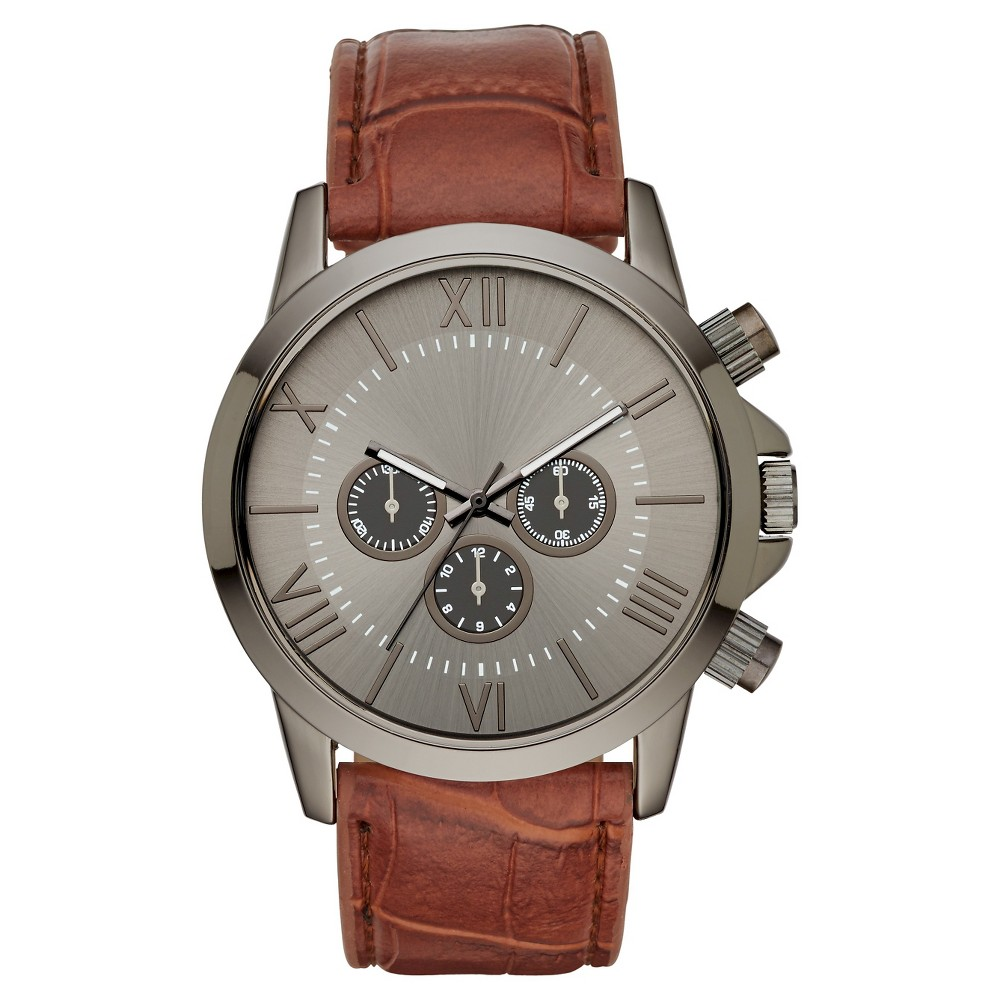 Mens Roman Numeral Dial with Brown Strap Watch - Brown/Gun - Mossimo