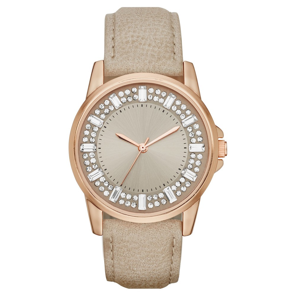 Womens Strap Watch with Baguette Stone Glitz Dial - Gray/Rose Gold - Mossimo