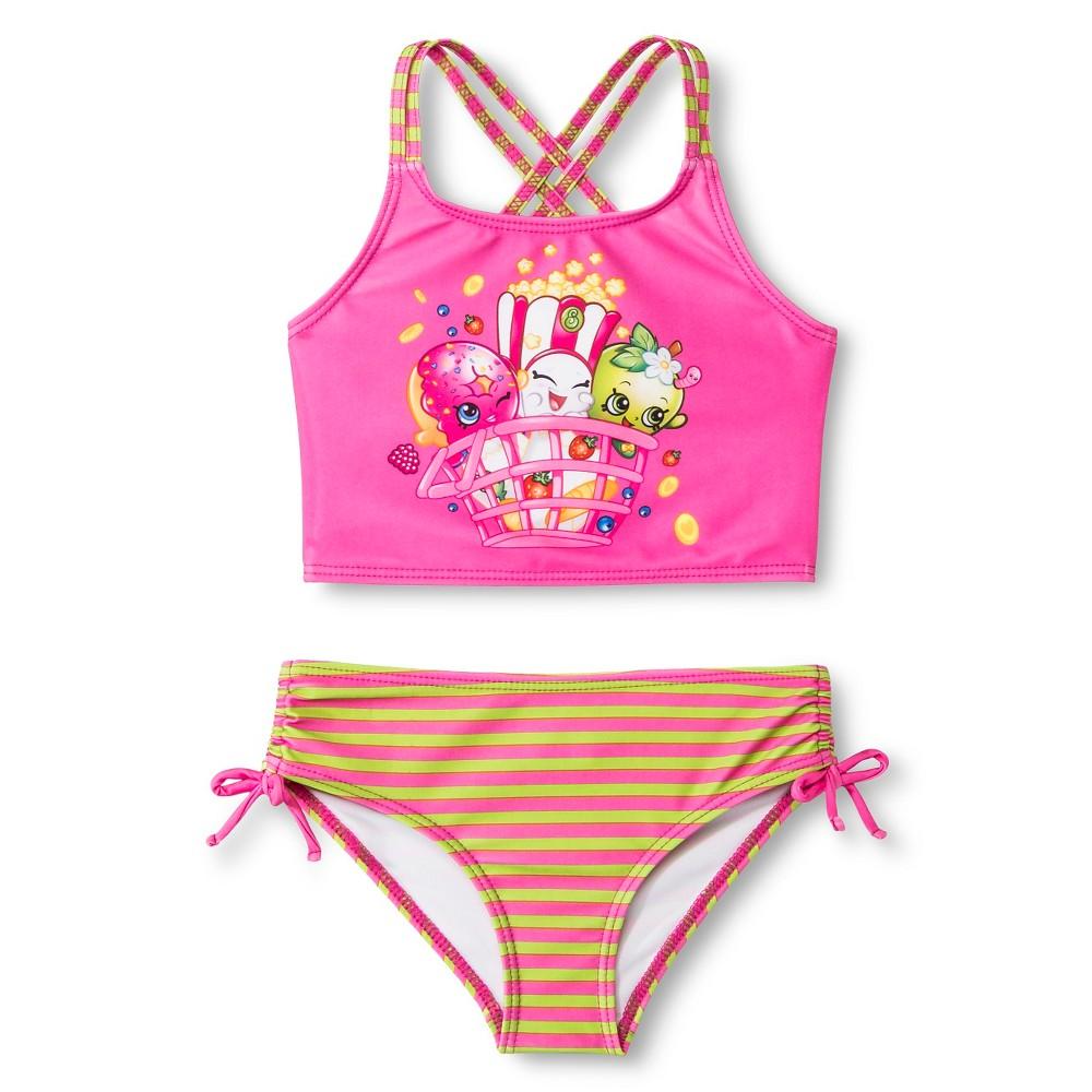 Girls Shopkins Tankini Swimsuit - Purple 4, Pink