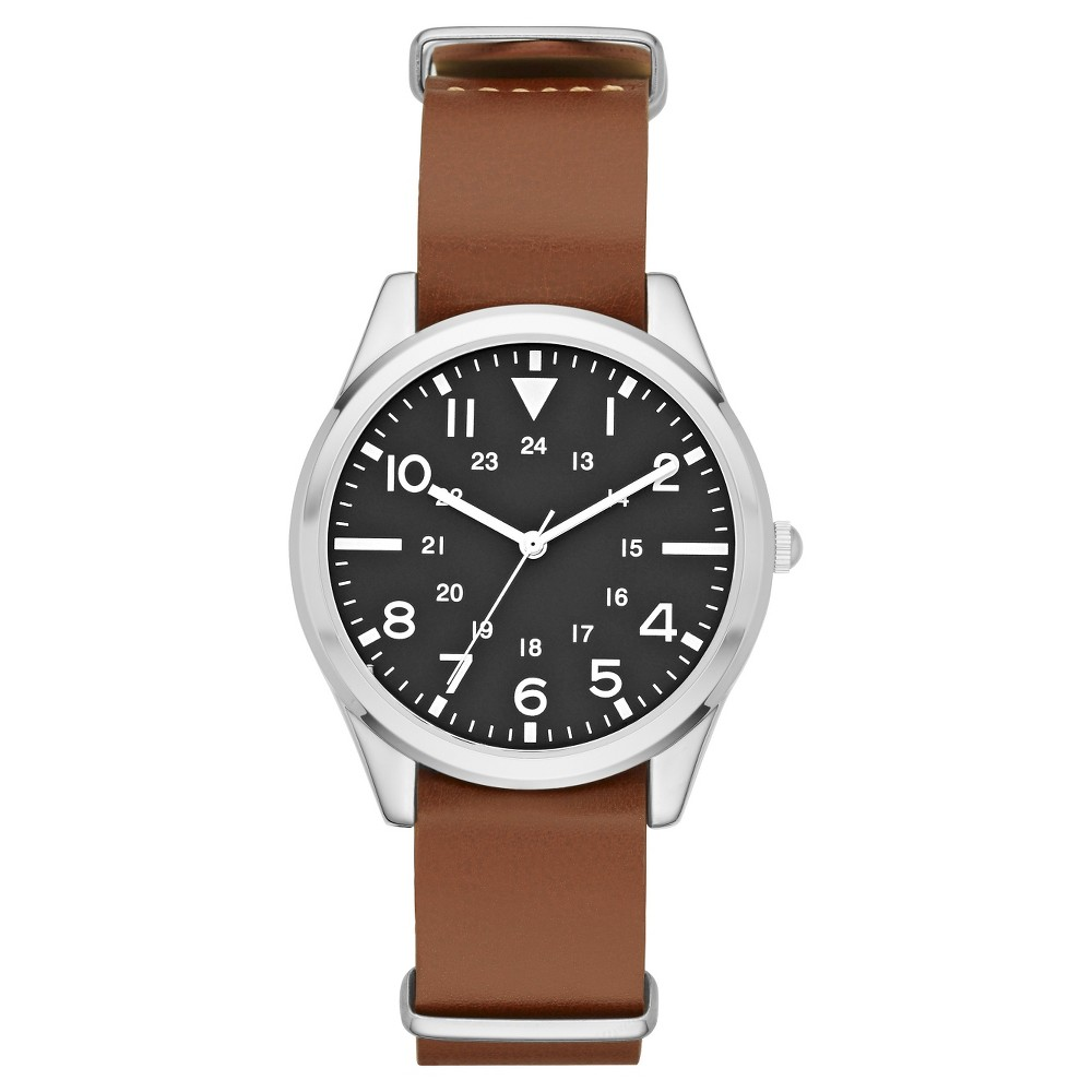 Mens Field Strap Watch Brown - Merona, Size: Large
