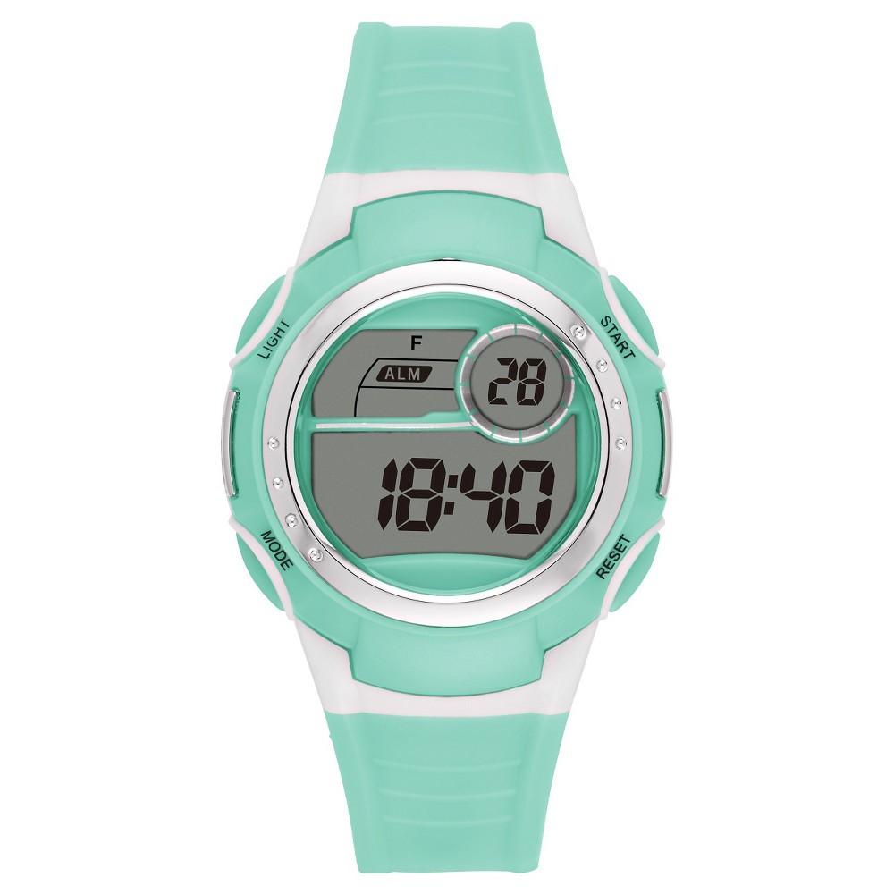 Womens Sport Digital Watch - Mint/White