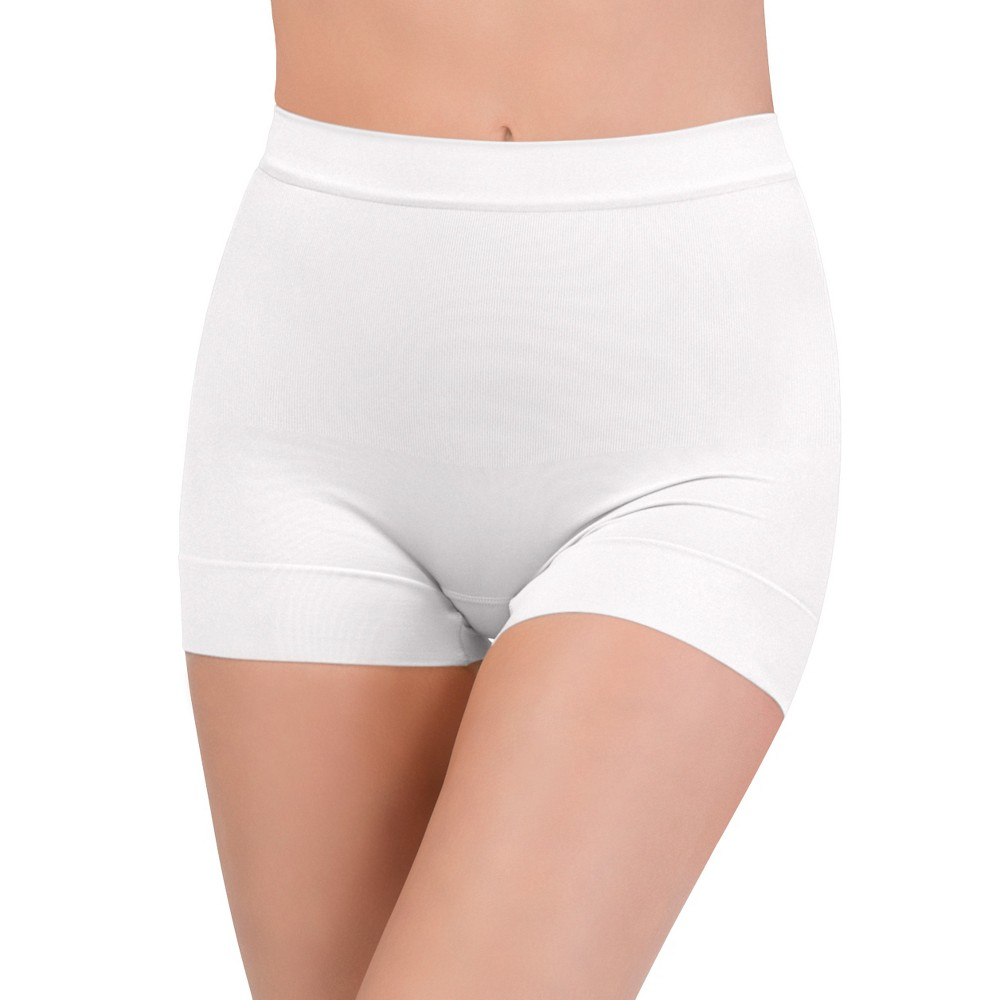 Assets by Spanx Womens All Around Smoothers Seamless Shaping Girl Shorts - White L