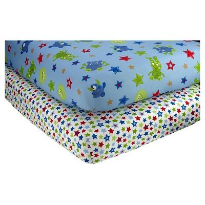 Little Bedding by NoJo Monster Babies Sheet Set (2pk)