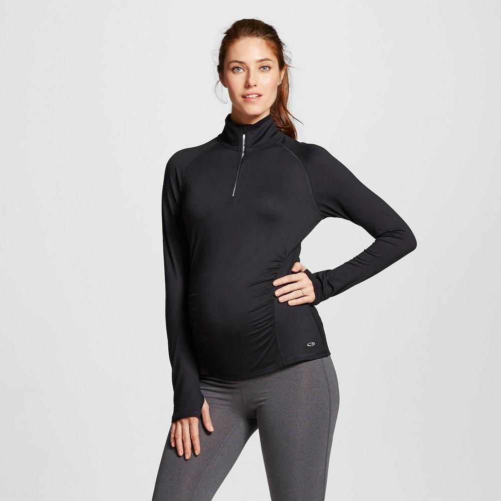 Womens Maternity Run 1/4 Zip Pullover - C9 Champion Black M
