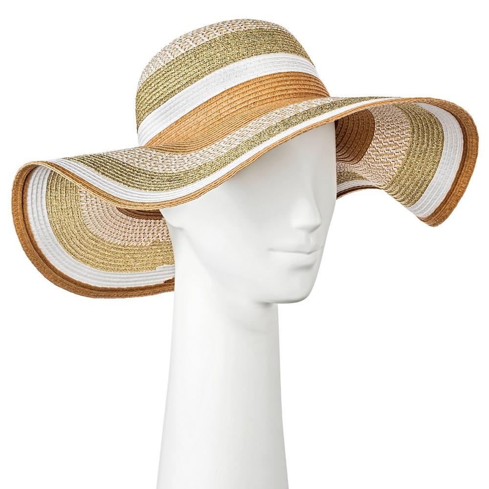 Womens Floppy Hat Striped - Merona, Desert Tan