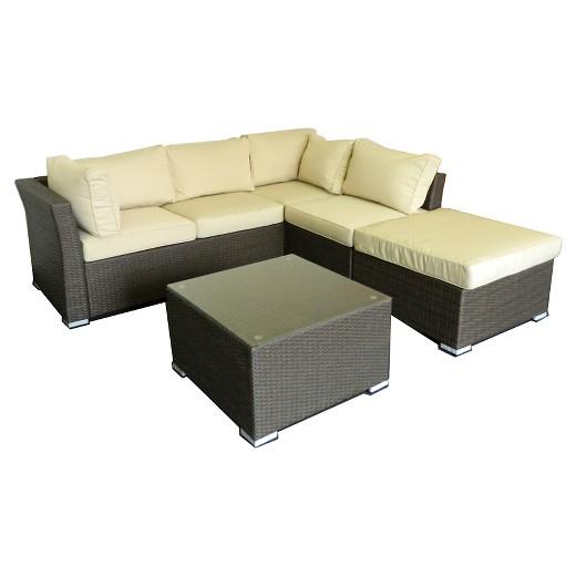 The Hom Jicaro Wicker 5 Piece Patio Sectional Sofa Set Rustic Dark Brown Target