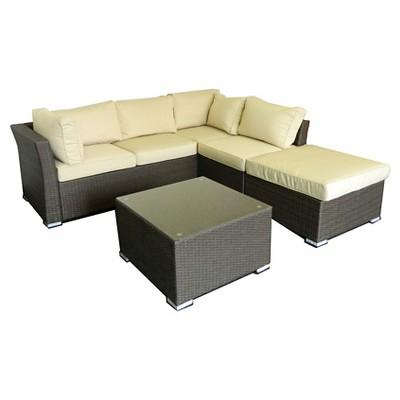 The HOM Jicaro Wicker 5   Piece Patio Sectional Sofa Set   Rustic Dark Brown