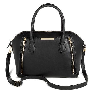 Women's Satchel Faux Leather Handbag with Zipper Detail Black - Mossimo™