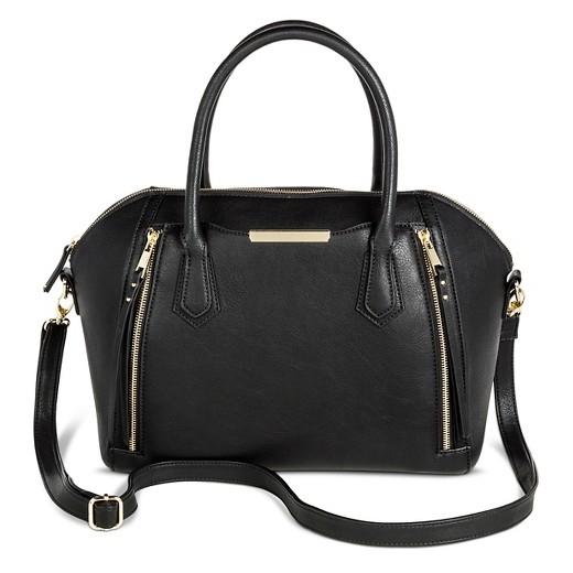 Women's Satchel Faux Leather Handbag with Zipper Detail Black ...