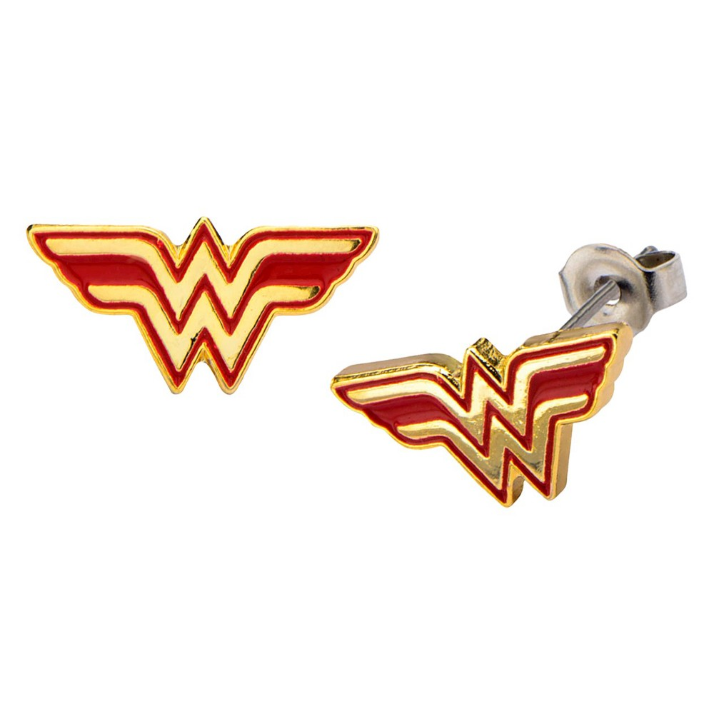 Womens DC Comics Wonder Woman Logo and Stainless Steel Stud Earrings - Red/Gold