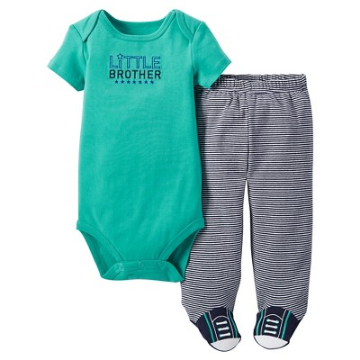Just One You™ Made by Carter's® Baby Boys' 2pc Footed Pant Set – Green & Navy 9M