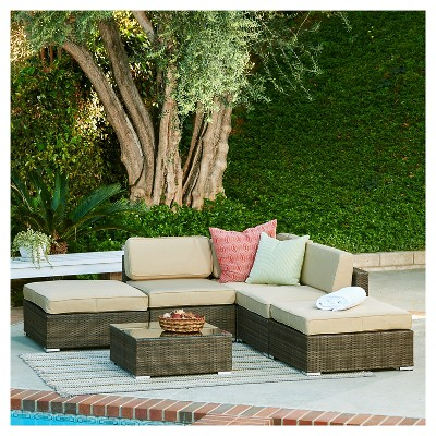 The Hom Barton 6 Piece Wicker Patio Sectional Sofa Set   Dark Brown With  Beige Cushions