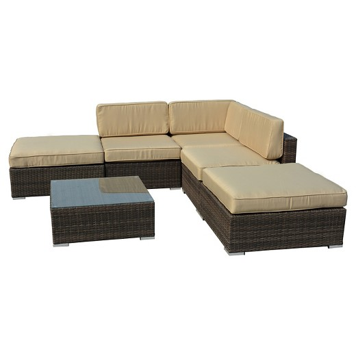 The Hom Barton 6 Piece Wicker Patio Sectional Sofa Set Dark Brown With Beige Cushions Target