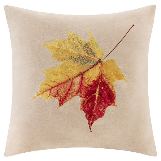 Tan embroidered leaf suede throw pillow quot x target