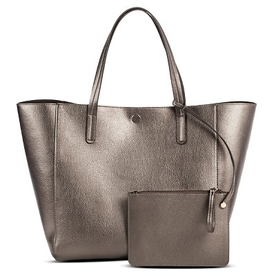 Women's Reversible Faux Leather Tote with Removable Pouch Pewter - Merona™