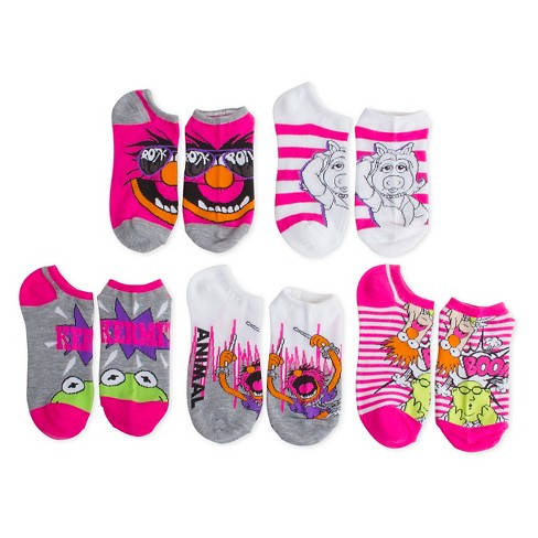 Women's The Muppets 5-Pack No Show Socks Multi-Colored One Size - image 1 of 1