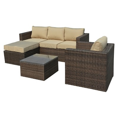 The Hom Caribe 4 Piece Wicker Patio Seating Set   Dark Brown With Beige  Cushions