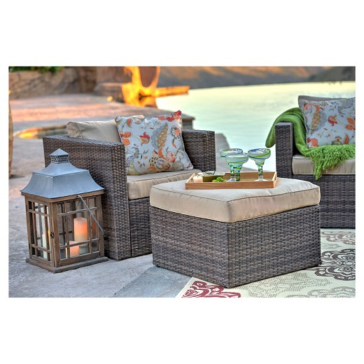 loved 218 times 218 - The-Hom Caribe 4-Piece Wicker Patio Seating Set - Dark Brown With