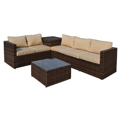 The Hom Gran Melia 4 Piece Wicker Patio Seating Set Dark Brown And Beige Cushions Target