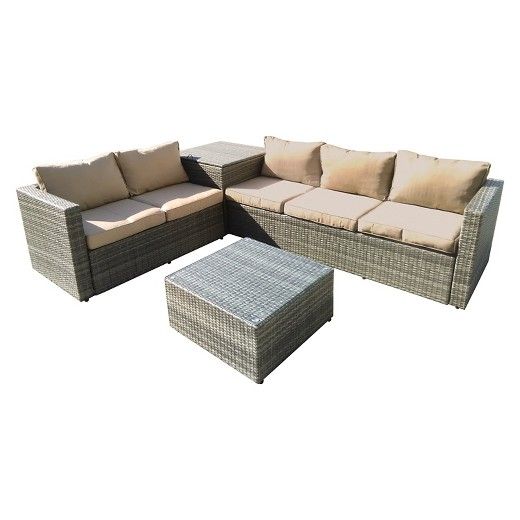 The Hom Gran Melia 4 Piece All Weather Wicker Patio Seating Set Antique Gray With Beige Cushions