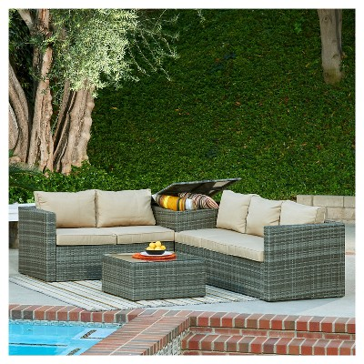 Good The HOM Gran Melia 4 Piece All Weather Wicker Patio Seating Set Antique  Gray With Beige Cushions