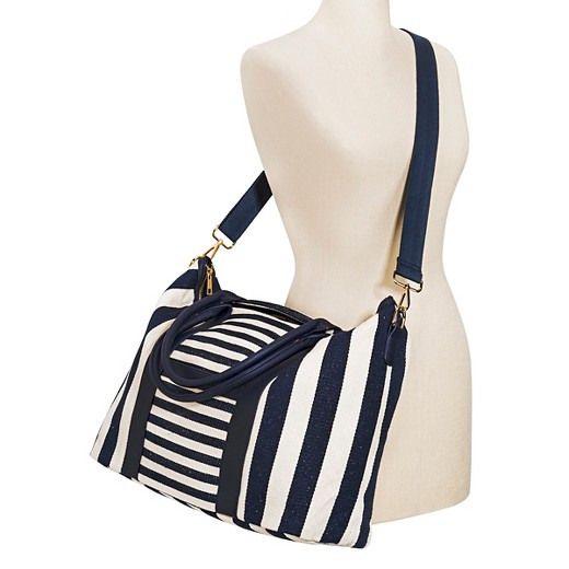 Women's Multistriped Canvas Tote with Removable Crossbody Strap ...