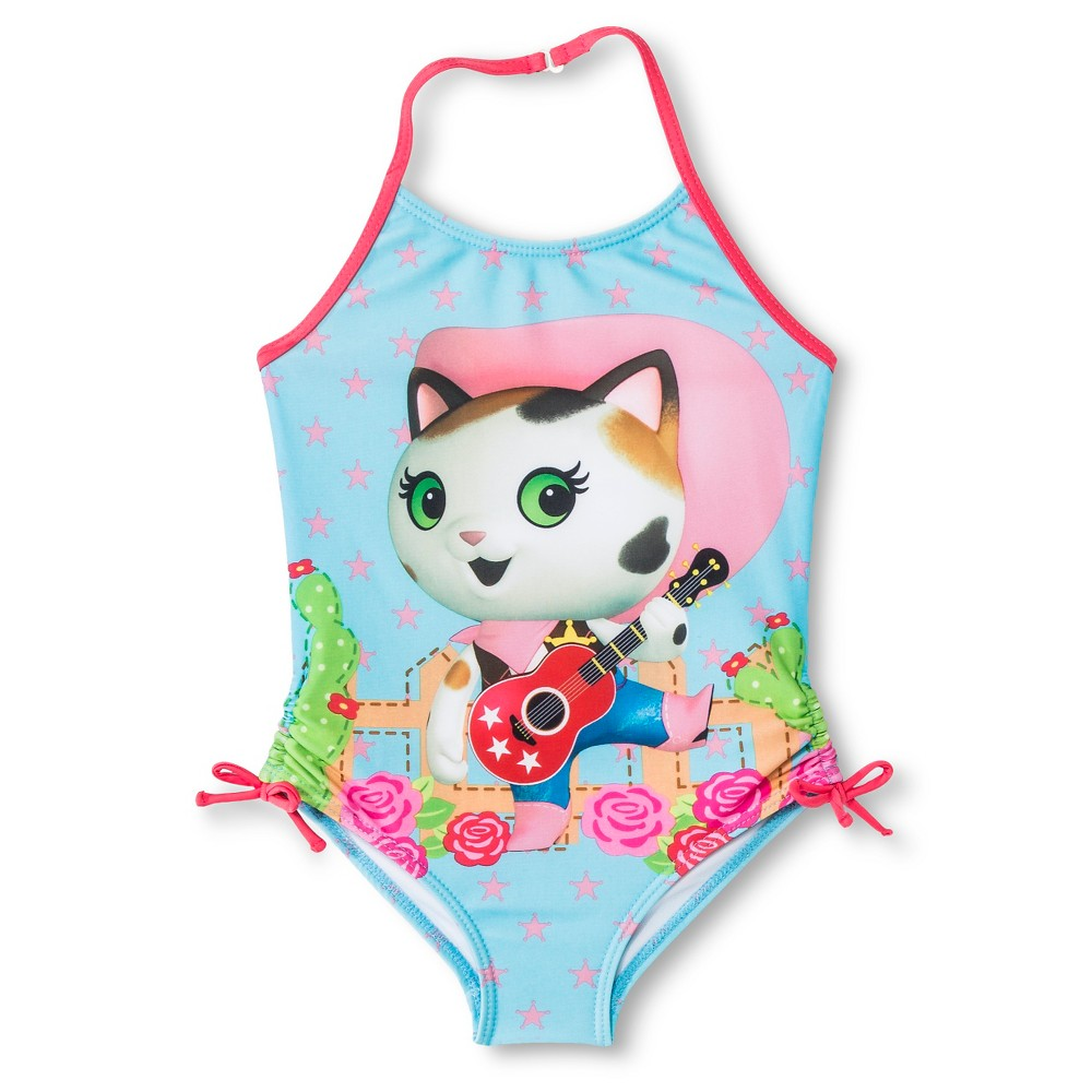 Disney Sheriff Callie Girls One Piece Swimsuit - Blue 6