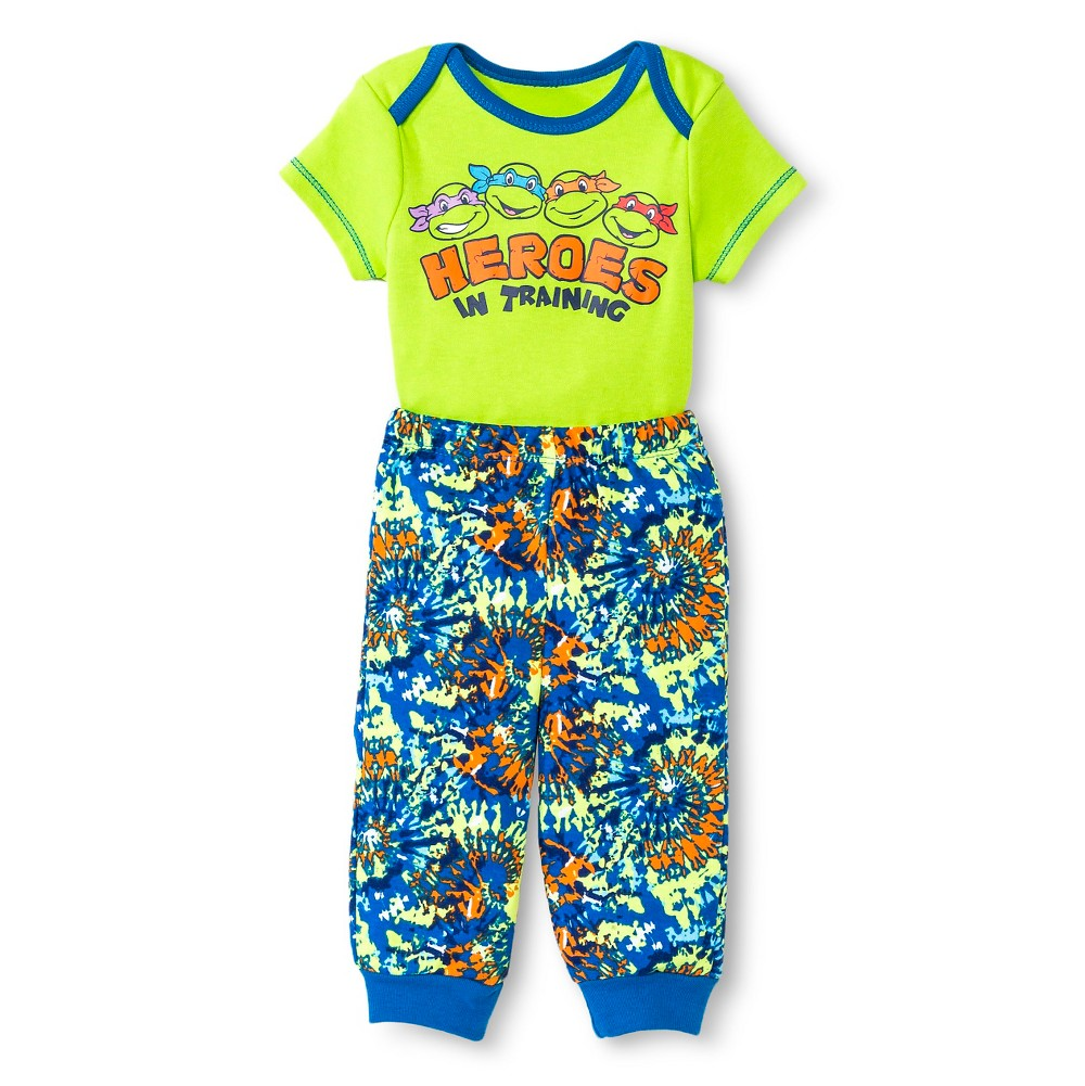 Teenage Mutant Ninja Turtles Baby Boys' Bodysuit & Jogger Pants Set - Green 6-9 M