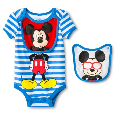 Disney Mickey Mouse Baby Bodysuit & 2 Bibs - 6-9M Blue