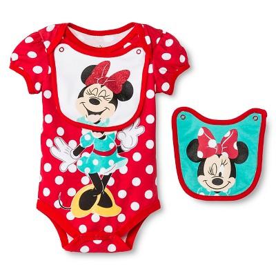 Baby Girls' Disney Minnie Mouse 2pc Bib & Bodysuit Set - Red 0-3M