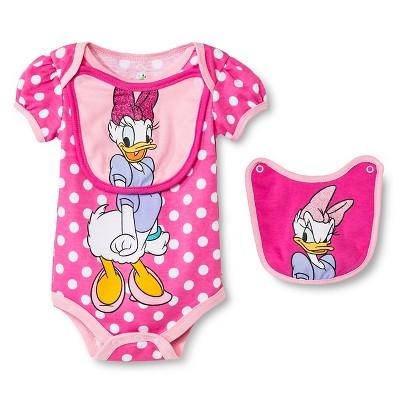 Disney Daisy Duck Baby Bodysuit & 2 Bibs - 6-9M Pink