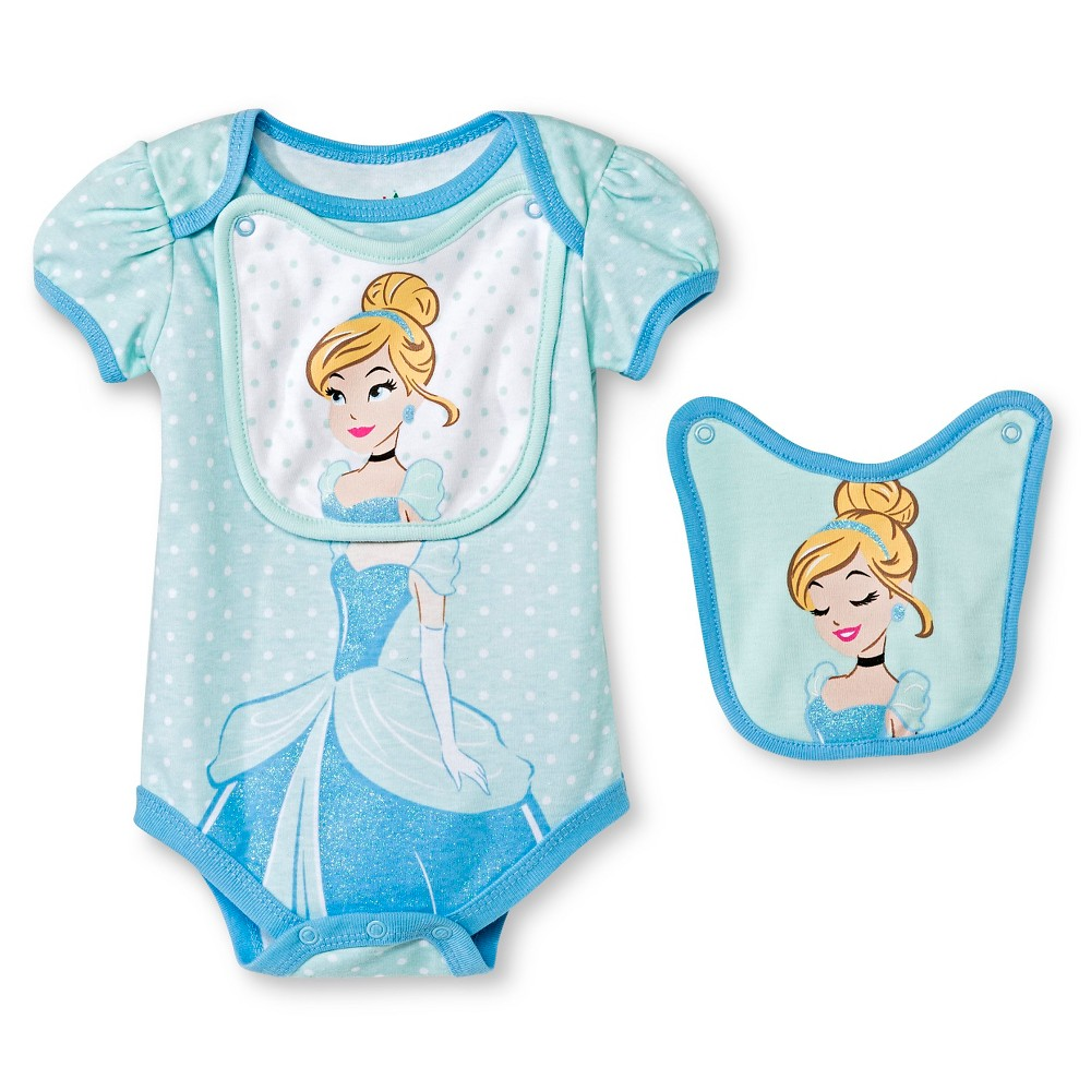 Disney Cinderella Baby Bodysuit & 2 Bibs - 6-9M Blue, Infant Girls, Size: 6-9 M