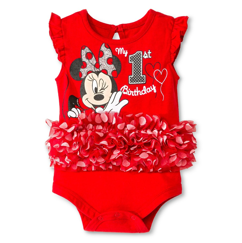 Disney Minnie Mouse Baby Birthday Bodysuit - 9M Red, Infant Girl's, Size: 9 M