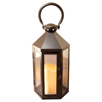 Metal Lantern with Battery Operated LED Candle Warm Black - Lumabase®