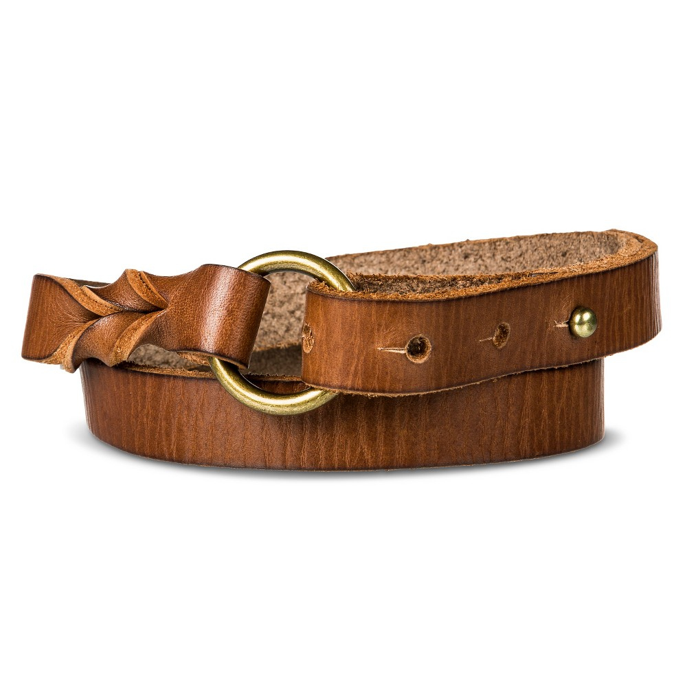 Womens Belt Brown Twist with Ring S - Merona